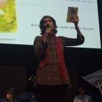 Sarah ministering and sharing about her Jesus Chicks book