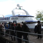 ravelers boarding the boat for a tour of Lake Lucern