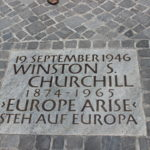 "Plaque commerating Winston Churchill's ""Europe Arise"" speech."